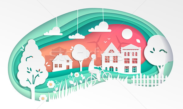 Country landscape - modern vector paper cut illustration Stock photo © Decorwithme