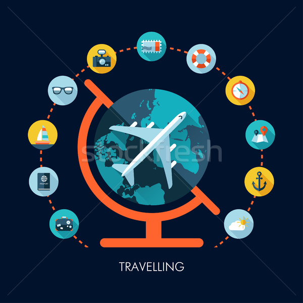 Illustration of vector travel flat design composition Stock photo © Decorwithme