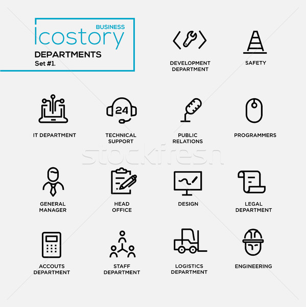 Set of office departments line flat design icons and pictograms.  Stock photo © Decorwithme