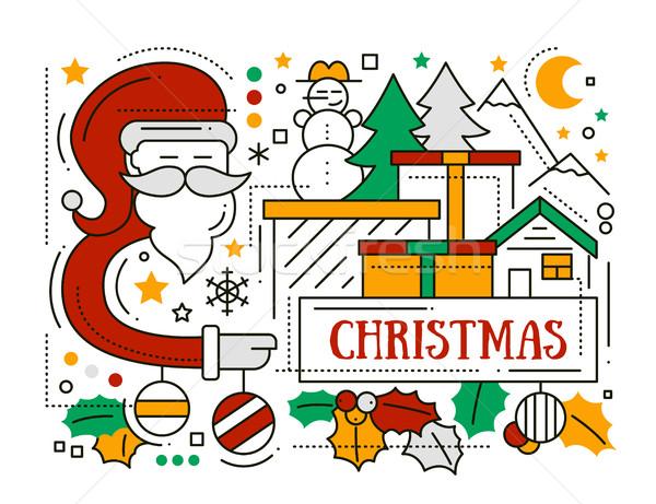Heiter Weihnachten line Design Karte Feiertage Stock foto © Decorwithme