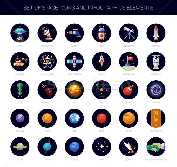 Stockfoto: Ingesteld · ruimte · iconen · infographics · communie · vector
