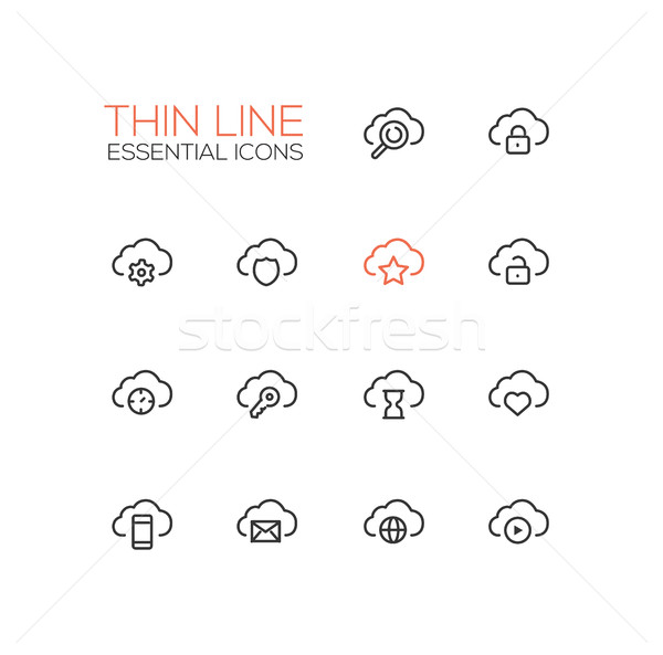 Clouds with Symbols - modern vector single thin line icons set Stock photo © Decorwithme