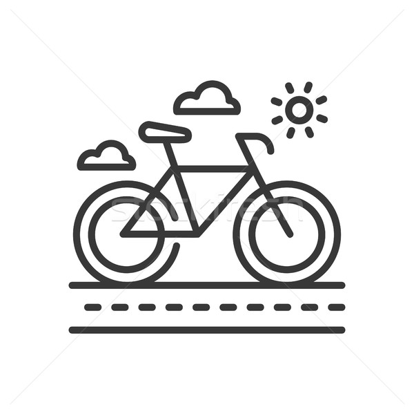 Stock photo: Bicycle - modern vector single line icon