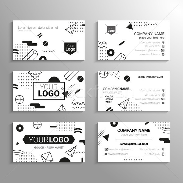 Business cards - vector template abstract bw background Stock photo © Decorwithme