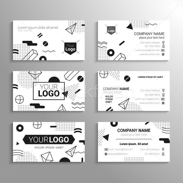 Visitenkarten Vektor Vorlage abstrakten schwarz weiß Design Stock foto © Decorwithme