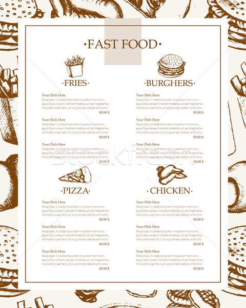 Fast food - monochromatic hand drawn template menu Stock photo © Decorwithme