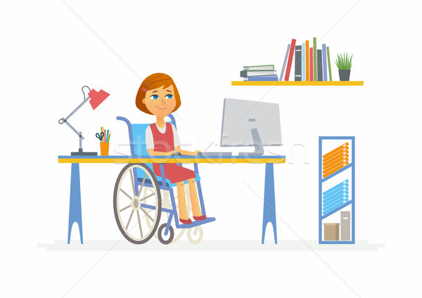 Online education - illustration of disabled school girl at home computer Stock photo © Decorwithme