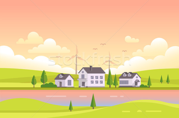 Small houses by the river during sunset - modern vector illustration Stock photo © Decorwithme