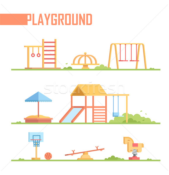 Set of playground elements - modern vector cartoon isolated illustration Stock photo © Decorwithme
