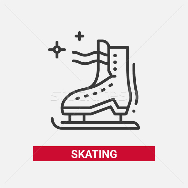 Ice skate - line design single isolated icon Stock photo © Decorwithme