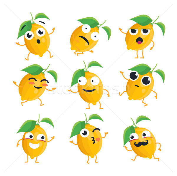 Funny lemon - vector isolated cartoon emoticons Stock photo © Decorwithme
