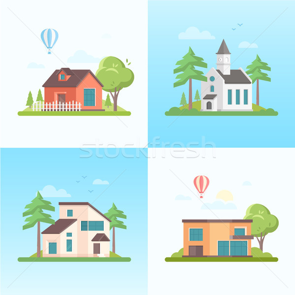Country life - set of modern flat design style vector illustrations Stock photo © Decorwithme