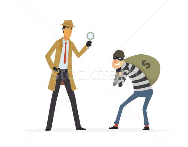 Detective catching a thief - cartoon people characters illustration Stock photo © Decorwithme