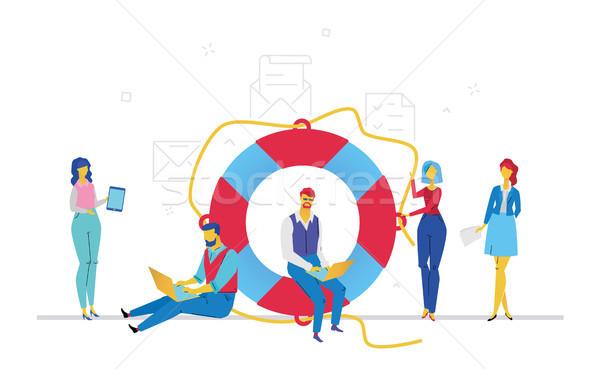 Collega's helpen ander ontwerp stijl kleurrijk Stockfoto © Decorwithme