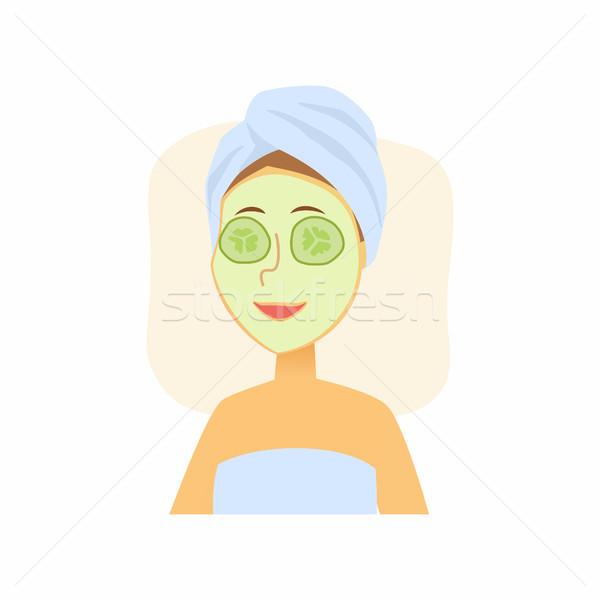 Mulher pepino cara máscara Foto stock © Decorwithme
