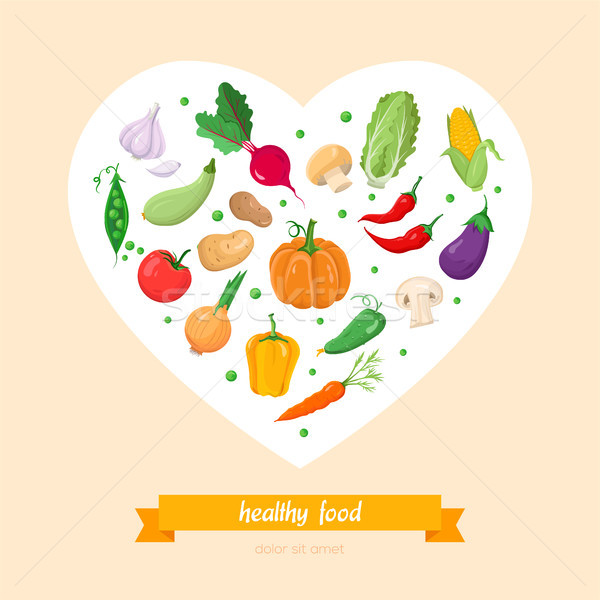 Stock photo: Healthy food, vegetables - modern colorful vector illustration