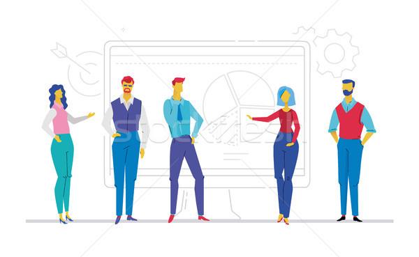 Squadra di affari risultati design stile colorato illustrazione Foto d'archivio © Decorwithme