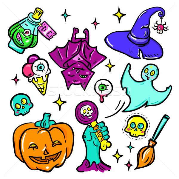 Halloween symbols - vector isolated stickers set Stock photo © Decorwithme