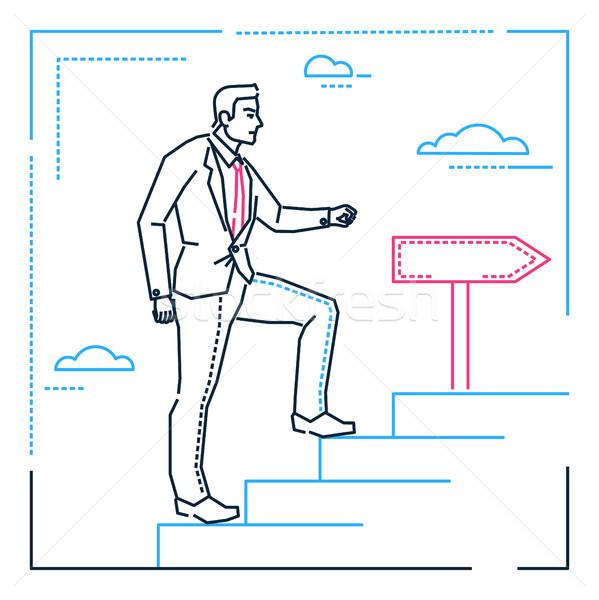 ビジネスマン 登山 はしご 行 デザイン スタイル ストックフォト © Decorwithme