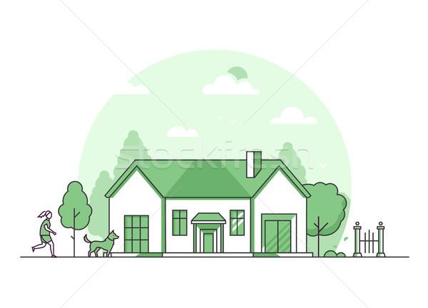 Banlieue maison modernes léger ligne design Photo stock © Decorwithme