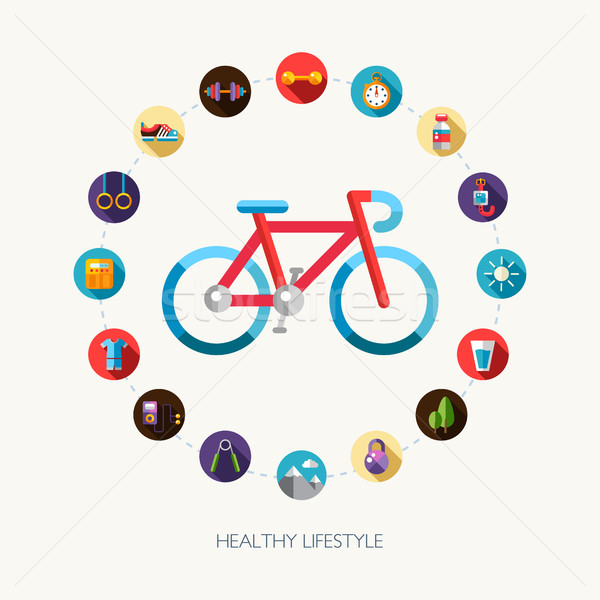 Set of flat design sport, fitness and healthy lifestyle icons Stock photo © Decorwithme