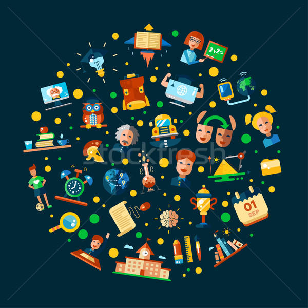 Illustration of school, college flat design icons and infographi Stock photo © Decorwithme