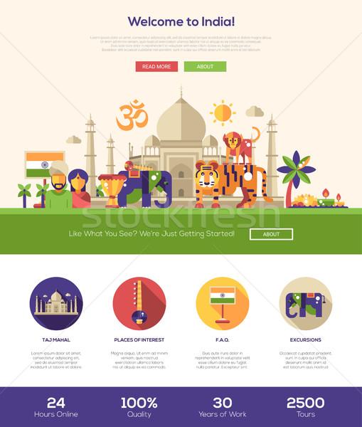 Hindistan web sitesi afiş web tasarım Stok fotoğraf © Decorwithme