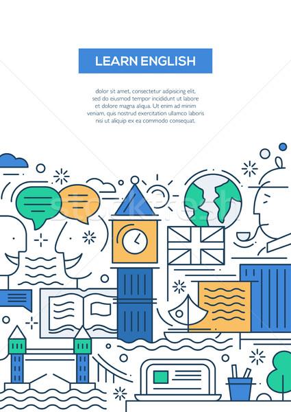 Foto d'archivio: Istruzione · line · design · banner · imparare · english