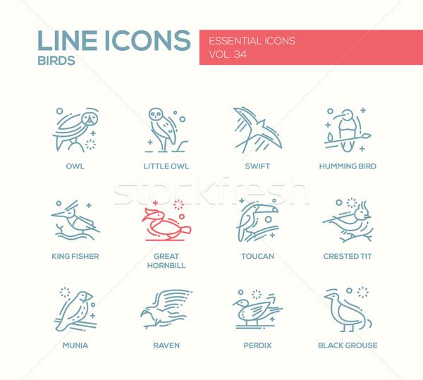 Birds - line design icons set Stock photo © Decorwithme