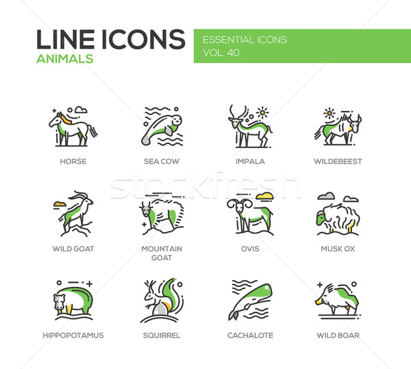 Animals - line design icons set Stock photo © Decorwithme