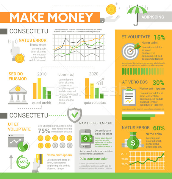 Make Money - poster, brochure cover template Stock photo © Decorwithme