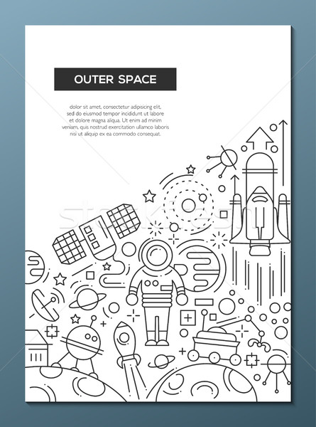 Outer Space - line design brochure poster template A4 Stock photo © Decorwithme