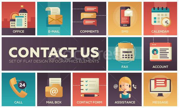 Contact Us - vector modern flat design icons set Stock photo © Decorwithme