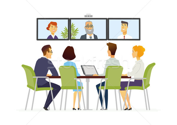 Distance Meeting - modern vector business cartoon characters illustration Stock photo © Decorwithme