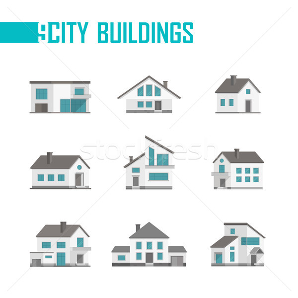 Nine small city buildings set of icons - vector illustration Stock photo © Decorwithme