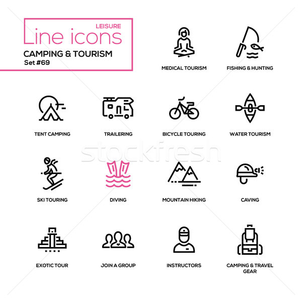 Camping and tourism - line design icons set Stock photo © Decorwithme