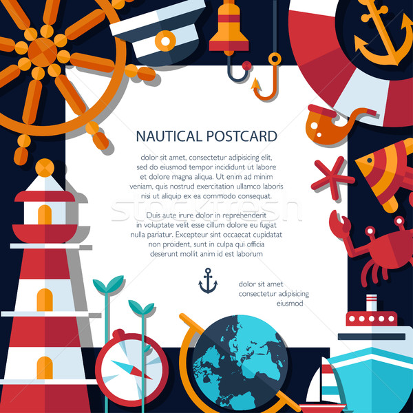 Illustration of vintage flat design modern nautical, marine post Stock photo © Decorwithme