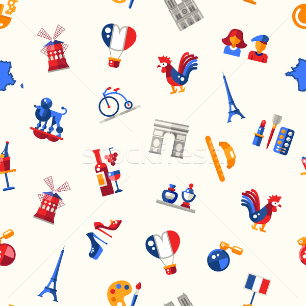 France travel icons seamless pattern with famous French symbols  Stock photo © Decorwithme