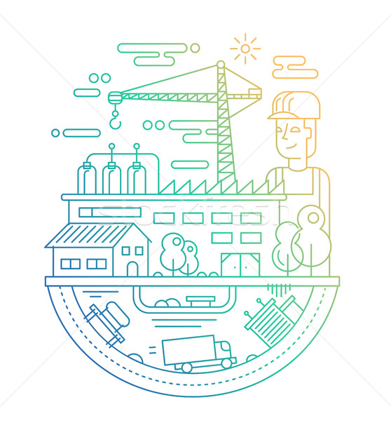 Industrial plant with a worker - line design illustration Stock photo © Decorwithme