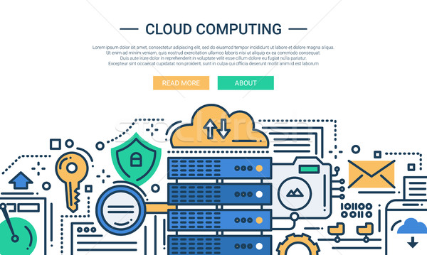Cloud Computing - line design website banner Stock photo © Decorwithme