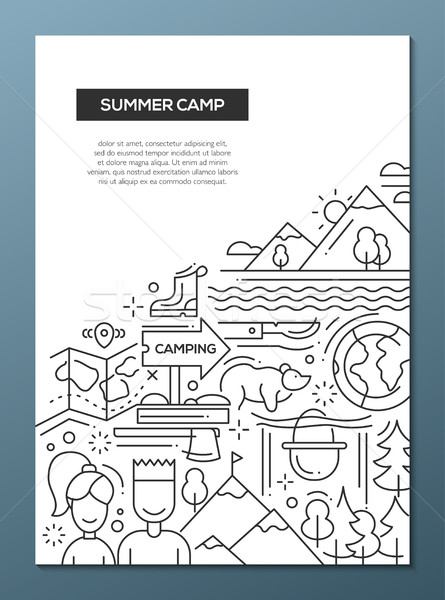 Camping, hiking line nesign composition Stock photo © Decorwithme