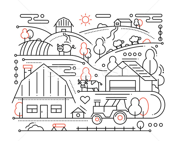 Farm - line design composition Stock photo © Decorwithme