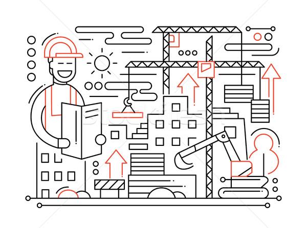 Stockfoto: Bouwplaats · lijn · ontwerp · vector · moderne · eenvoudige