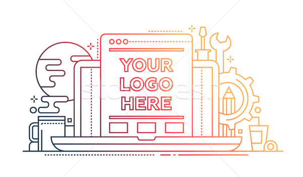 Programming Tools - line design illistration with copyspace for Logo Stock photo © Decorwithme