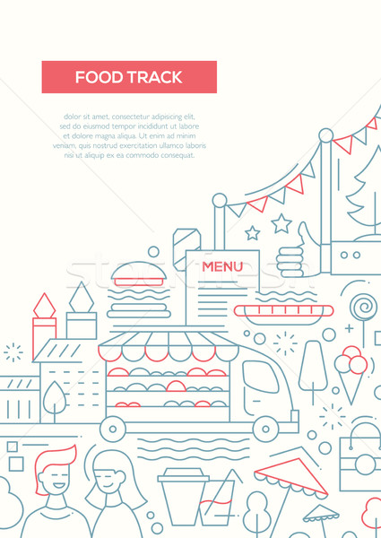 Food Track - line design brochure poster template A4 Stock photo © Decorwithme