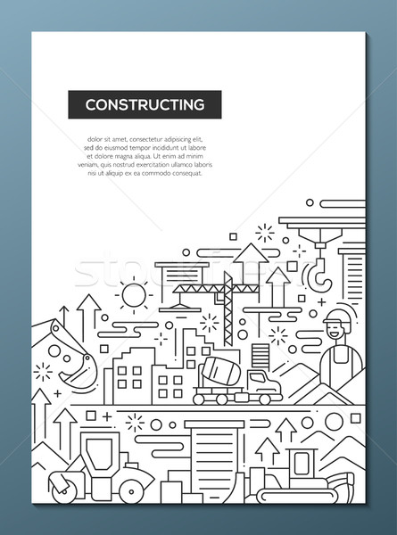 Constructing - line design brochure poster template A4 Stock photo © Decorwithme