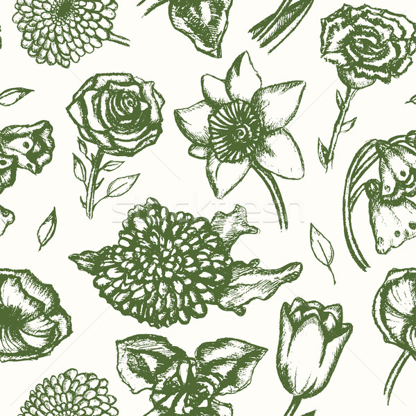 Beautiful Flowers - monochromatic hand drawn seamless pattern Stock photo © Decorwithme
