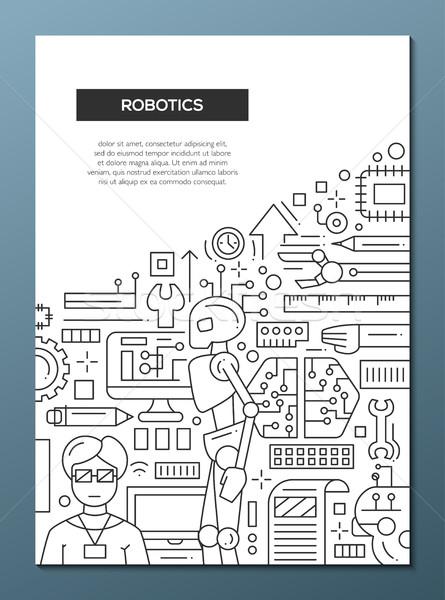 Robotique ligne design brochure affiche modèle Photo stock © Decorwithme