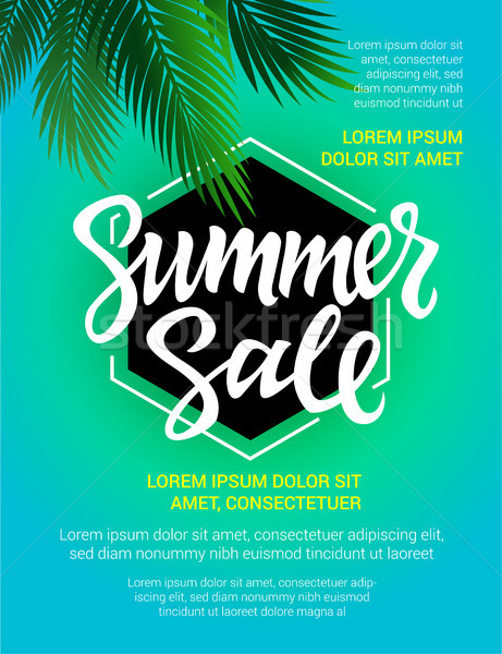 Summer Sale - vector leaflet template with brush lettering Stock photo © Decorwithme