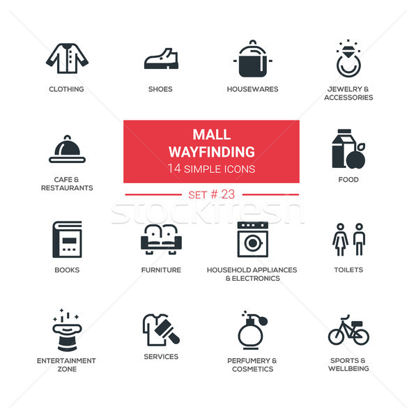 Mall wayfinding - modern simple icons, pictograms set Stock photo © Decorwithme